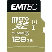 Emtec microSD Class10 Gold+ 128GB Memoria Flash MicroSDXC Clase 10 - Tarjeta de Memoria (128 GB, MicroSDXC, Clase 10, 85 MB/s, Negro, Oro)