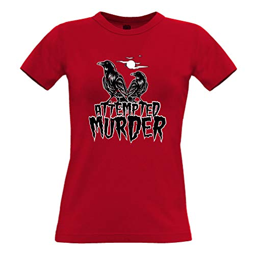 Halloween Frauen T-Shirt Mordversuch Crow Pun Red ()