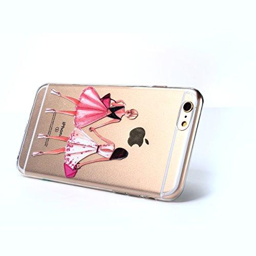 Iphone 6 Plus Hülle,E-Lush TPU Dünn Silikon Case Cover für Iphone 6 Plus [Kristallklar Durchsichtig] , Stylische Handy Hülle und Fotografie Dame Motiv Design Muster Backcover Crystal Stoßdämpfend Tran Einkaufen Dame