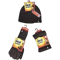 Heat Holders - Uomo invernale autunno termico in pile cappello, scaldacollo e guanti (Scaldacollo Set)