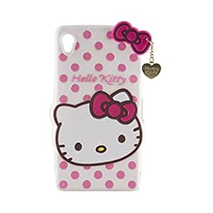 Go CrazzySony Experia Z2 Cute Hello Kitty Soft Silicone Case, 3D Cartoon Polka Dots Hello Kitty Silicon Gel Rubber Case Cover Skin for Sony Experia Z2 With free 4 in 1 USB sync data charger cable cord for all Android & ios (Multi)
