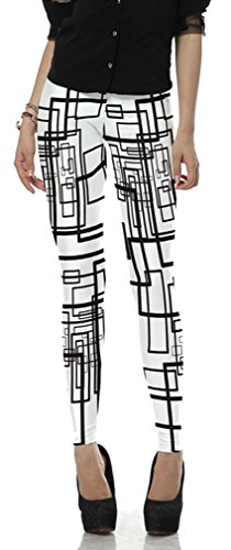 Belsen Femme Deadpool série Leggings élasticité crayon Pantalon Black white stripes