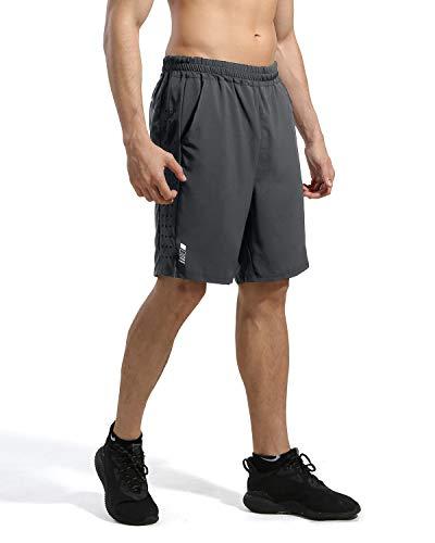 7 ZOll Athletic Running Shorts für Kurze Hosen Herren - Schnelltrocknende, leichte Turnhose für das Training im Freien beim Tennis und Basketball, Grau, Gr. L L Grau -