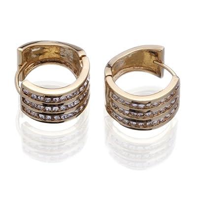 Eozy 15*15mm 18K Chapado En Oro Y Diamante De Imitación Pendientes De Mujer por Eozy
