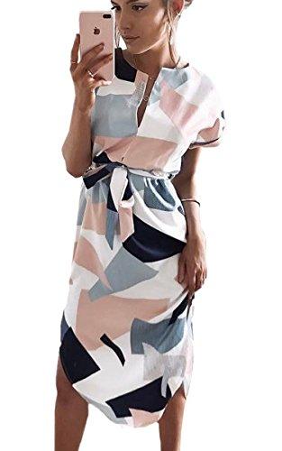 ECOWISH Sommerkleider Damen Kurzarm V-Ausschnitt Strand Blumen Kleider Abendkleid Knielang Weiß M