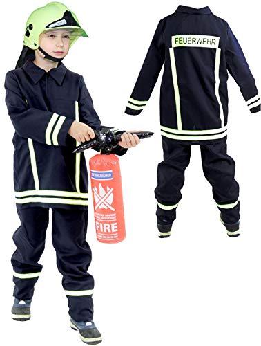 Foxxeo Feuerwehr Kostüm für Kinder - Verschiedene Größen von 92 bis 134 - Feuerwehrmann Kostüm für Jungen Fasching Karneval, Größe 104-110