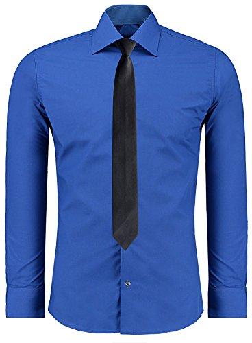 Jeel Langarm Herren Hemd Basic Business Anzug Freizeit Hochzeit Slim Fit, Größen S - 2XL + Krawatte Sax