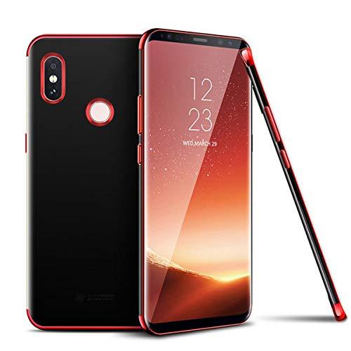 Saceebe compatible con Xiaomi Redmi S2 Funda Silicona TPU,Cristal Claro Transparente Carcasa de TPU Estuche Electrochapa edged TPU Flexible Silicona Caja[Anti Rasguños] Ultra Delgado,rojo