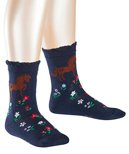 FALKE Mädchen Socken Horse, Mehrfarbig (Marine 6120), 27-30 (Socken Winter Kinder)