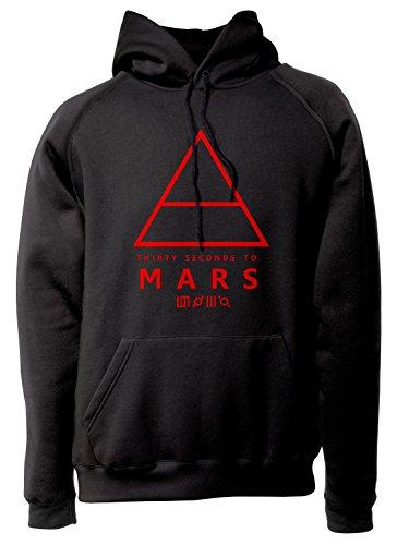 LaMAGLIERIA Unisex-Rock Hoodie 30 Seconds to Mars Triangle Art Red Print - Rock Kapuzenpullover, L, Schwarz -