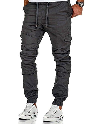 Denim Cargo Jeans (Amaci&Sons Herren Stretch Jogger Cargo Chino Jeans Hose 7007 Anthrazit W30)