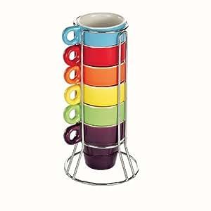 Tour 6 tasses ristretto coloris assortis MEN120