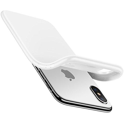 AVANA iPhone X Hülle Schutzhülle Slim Case Etui Schutz Tasche Glänzende Silikon + TPU Handyhülle Dünne Weiche Schale Cover für Apple iPhone X/iPhone 10 - Jet White/Weiß