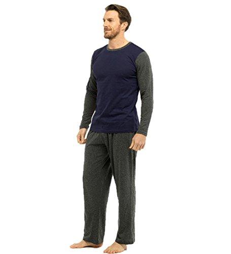 Pijama para hombre con parte de arriba cálida y pantalón de franela, ropa de estar por casa