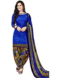 Fashion Valley Women's Crepe Unstitched Patiyala Style Churidar Salwar Suit Material with Dupatta (FVDIVCRP6076-1, Blue, Free Size)