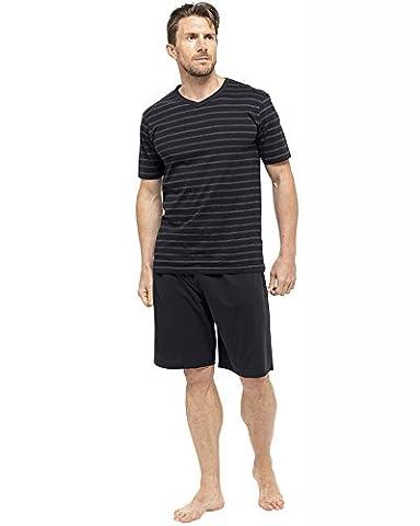 Short Court Coton Homme - Hommes/Gentlemens Pyjama/Pyjama à Rayures T-Shirt Manche Courte