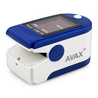 AVAX AV-50DL - Fingerpulsoximeter (Finger Pulse Oximeter) - %SpO2 (Sauerstoffsättigung des Blutes) & Herzfrequenzmesser mit LED-Anzeige und Zubehör - BLAU
