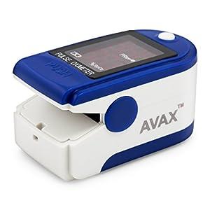 AVAX AV-50DL – Fingerpulsoximeter (Finger Pulse Oximeter) – %SpO2 (Sauerstoffsättigung des Blutes) & Herzfrequenzmesser mit LED-Anzeige und Zubehör – BLAU