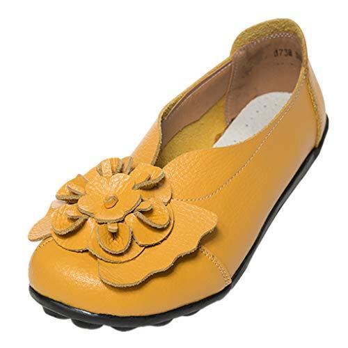 Dorical Damen Mädchen Erbsen Schuhe Casual Flach Schuhe Gartenschuhe Kunstleder Slip on Komfortable Schuhe Weich Leichte Bequem Rutschfest Freizeitschuhe Halbschuhe (Gelb,41) (Speedo-performance)