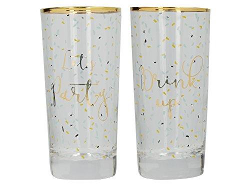 CREATIVE TOPS AVA und ich Let 's Party/Drink Up verziert Gold-Rimmed Highball Gläser, 420ml (Set von 2), transparent/goldfarben, 7x 7x 14,8cm -