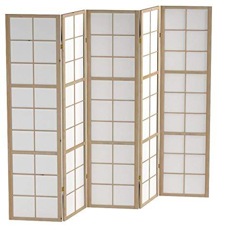 Homestyle4u 169, Paravent Raumteiler 5 teilig, Holz Natur, Reispapier Weiß, Höhe 175 cm