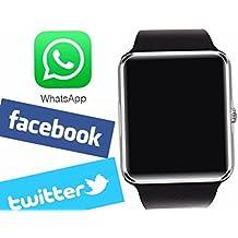 Viwel Reloj Inteligente Smart Watch soporte Facebook Twitter Teléfono Inteligente Pulsera 1.54 Pantalla Táctil Cámara para Android Samsung HTC LG Huawei Xiaomi Reloj Deportivos SIM/TF Plata