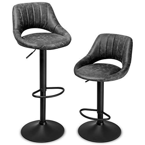 INTEY 2er-Set Barhocker Barstuhl mit Rückenlehne und Einstellgriff, 360° drehbar, Kunstleder, höhenverstellbar, verchromtem Stahl, Tresenhocker, Küchenstühle, belastbar bis 130kg, grau