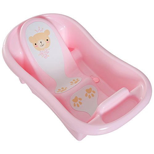 HOMCOM Anti-slip PP Baby Bath Tub 2 Stage Infant Child Safe Seat Comfortable Backrest Suitable For 0-36 Month - Pink