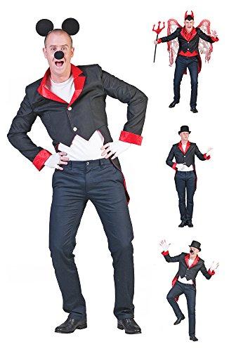 Herren Frack Schwarz Rot Gr. 56 58 für Show Party Kostüm Zirkusdirektor Teufel (Outfit Zirkusdirektor)