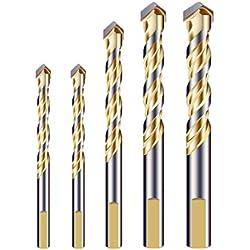 Meccion multi-matériaux de forets avec pointe en carbure, double emplacement pour carrelage, béton, Brique, verre, plastique, bois, métal, argent