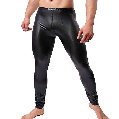 GuangmingXi Pantalones largos de cuero de imitación de hombre Pantalo