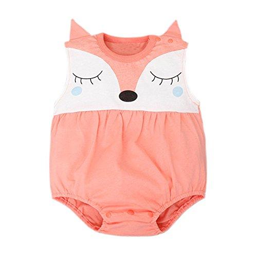 Baby - Weste-Bodysuit Süß Fuchs IHRKleid® Mädchen Onesise (70, 6-9 Monate, Rot)