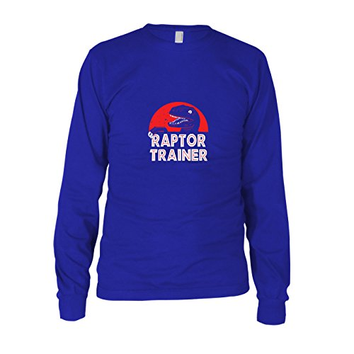 Raptor Trainer - Herren Langarm T-Shirt, Größe: M, Farbe: blau (Velociraptor Dinosaurier Kostüm)