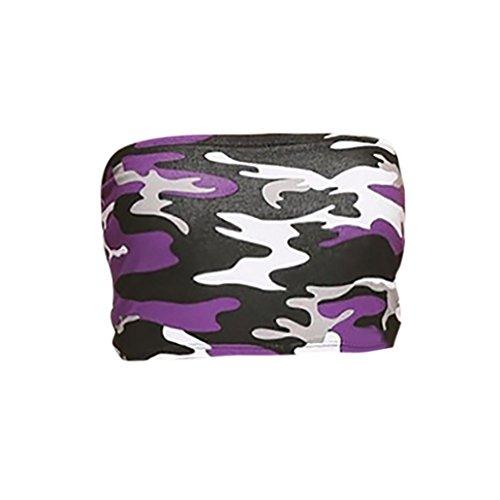 UFACE Damen Camouflage Brust Gewickelt Frauen Liebsten Camouflage Boob Bandeau Tube Tops BH Dessous Brust Wrap (L, Violett) (Wrap-top Ärmel, Lange)