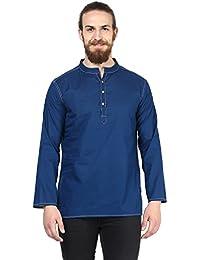 Vivids India Men's Blue Short Kurta - G186
