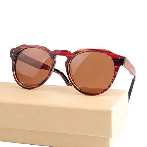 LKVNHP männer Frauen Holz runde Sonnenbrille polarisierte linse Holz Metall pc Splice Rahmen Mode Stil mit Geschenk Fallroten Streifen