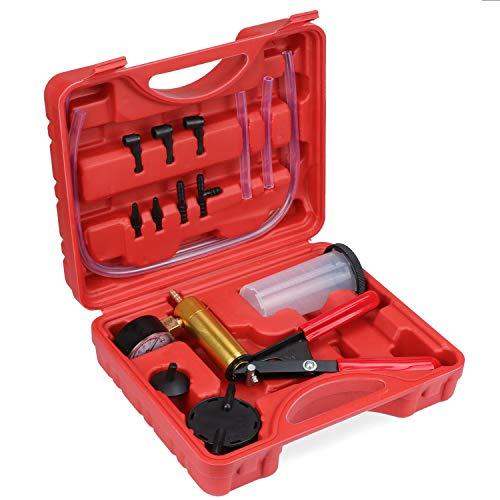 TsunNee Tester della pompa a vuoto, Kit di spurgo dei freni, kit di spurgo del liquido dei freni con vacuometro/adattatore, per autoveicoli/camion/motociclett