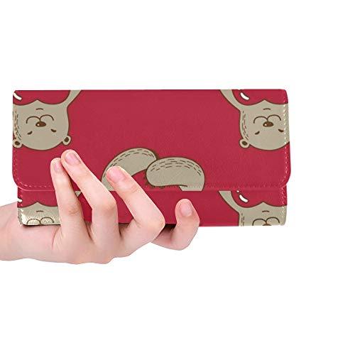 Einzigartige Custom Bear Hug rotes Herz Valentine Frauen Trifold Wallet Lange Geldbörse Kreditkarteninhaber Fall Handtasche
