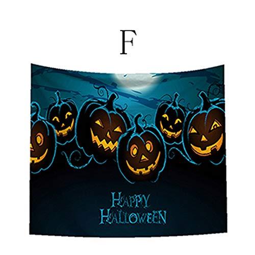 LANDFOX Halloween Horror Thema Tapisserie 150 * 130cm Schloss-Schädel-Geist-Kürbis-Kopf-Halloween-Thema Tapisserie hängend Halloween Dekoration Haus