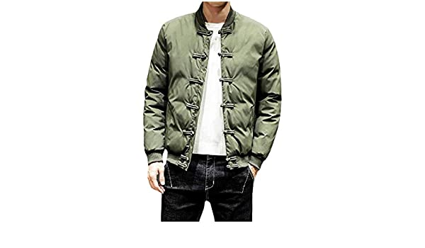 FieerMen Stand Collar Chinese Style Outwear Retro Fall /& Winter Quilted Pea Coat Jacket