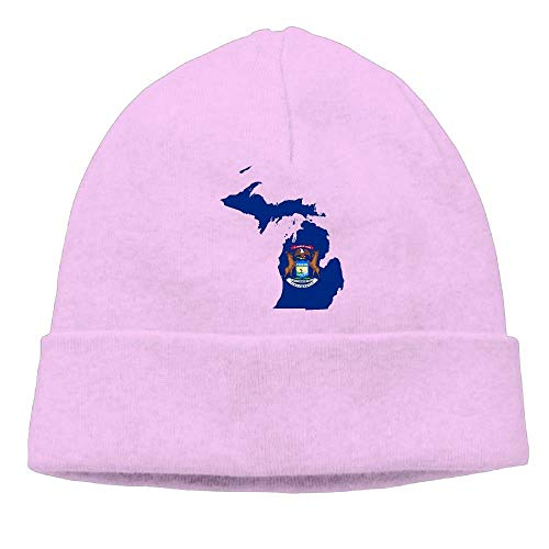 Flag Map of Men & Women's Knit Beanie Caps Winter Warm Daily Hat Pink