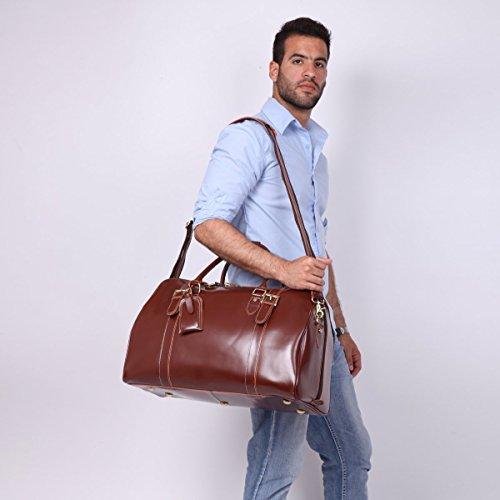 Leathario Herren Luxusrindleder Ledertasche Reisetasche Sporttasche Weekender Duffel Bag, Schwarz Braun