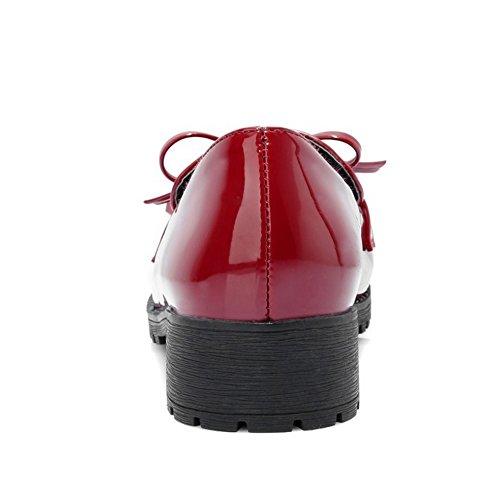 TAOFFEN Damen Low Heel Blockabsatz Schlupfschuhe Mode Pumps Rot 2Zx2zCL