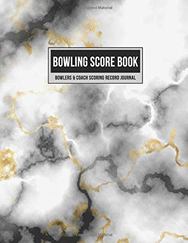 Bowling Score Book Bowlers & Coach Scoring Record Journal: Individual Game Score Keeper Notebook with Formatted Sheets for Strikes, Spares, Pin Count & Notes (Black Gold Marble, Band 1)