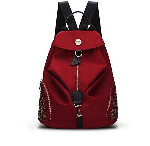 HQYSS Borse donna Donne Nylon grande capacità Semplice selvaggio casuale zaino solido di colore regolabile spalla sacchetto impermeabile Crossbody Bag , black red