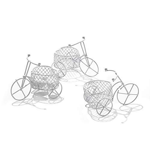 C.x.y. 5 pezzi bicicletta a tre ruote cestino forma cuore latta vernice bianco-portaconfetti bomboniere segnaposto