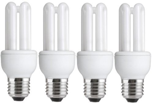 4 x Energy Saving 11W (=54W-60W) E27 ES CFL Light Bulbs, Edison Screw, 620-660 Lumen, 10 Years, 827 2700K Warm White