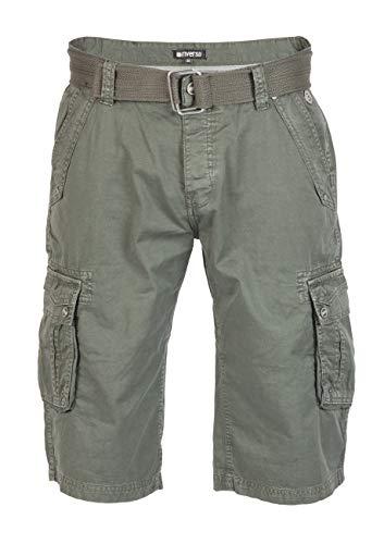 riverso Herren Cargo Shorts Anton mit Gürtel Bermuda Kurze Hose Aus 100% Baumwolle - Blau - Grau - Oliv, Größe:W 32, Farbe:Military Green (12300) - Cargo Stil, Jeans
