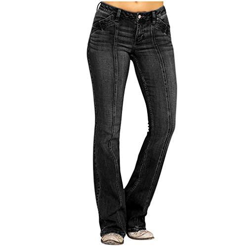 Broadwage Retro Waschen Jeanshose, Damen Slim Fit Dünn Lange Beine Schlaghose Pants for Tall Girl Rustic Style Skinny Weite Bein Hosen Stretch Stoff Sporthose Freizeithose Cargohosen Hüfthose