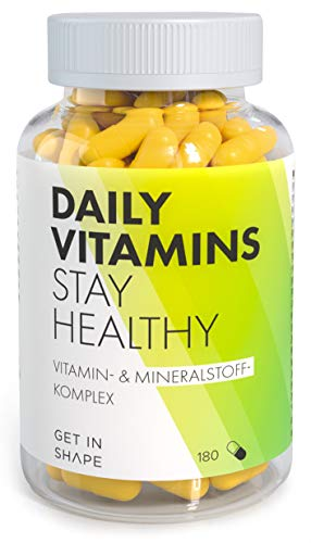 Daily Vitamins - Multivitamin Nahrungsergänzungsmittel, 19 Vitamine und Mineralstoffe in ausgewogener Rezeptur. 180 vegane Multivitamin Kapseln für 3 Monate von GET IN SHAPE